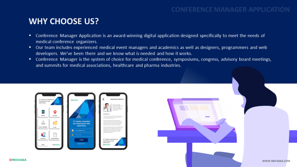 pharma conference manager - moisaka healthcare solution - digital healthcare - medical events, medical seminars, congress, summits, scientific meetings, advisory board meetings, events manager, medical symposiums